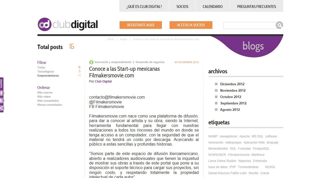 Filmakersmovie en Clubdigital.mx